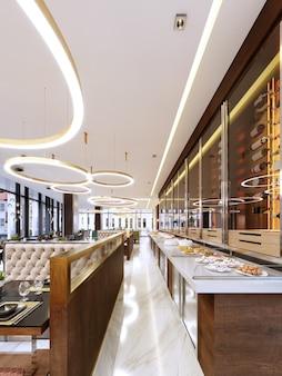 Dekoracyjna ściana w nowoczesnej restauracji z butelkami pod szkłem ze światłem. chłodziarka do butelek wina. projekt restauracji. renderowanie 3d