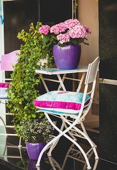 Dekoracyjne metalowe krzesło, stół ogrodowy i rośliny w doniczkach