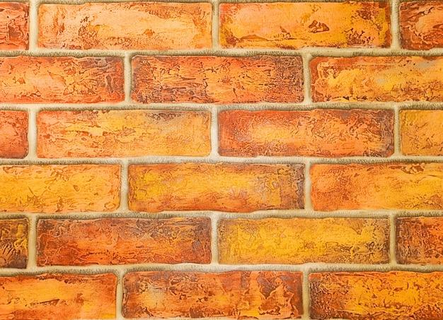 Dekoracyjny mur z cegły z bliska