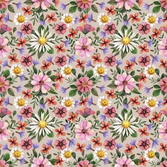Delikatne tłoczone kwiatowe bezszwowe wzory akwarelowe i kompozycje z suszonych kwiatów są umieszczane na naturalnym tle