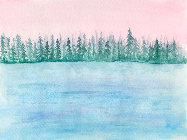 Delikatny krajobraz akwarela z niebieskim jeziorem lub morzem, spokojną wodą i jodłami w różowych światłach wschodu słońca