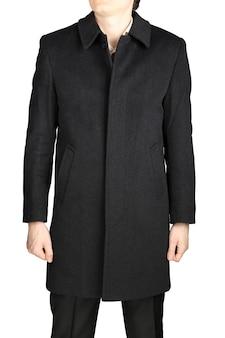 Demiseason męski płaszcz kaszmirowy w kolorze ciemnoszarym, na białym tle.
