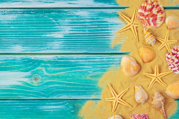 Denny piasek i morze skorupy na błękitnej drewnianej podłoga