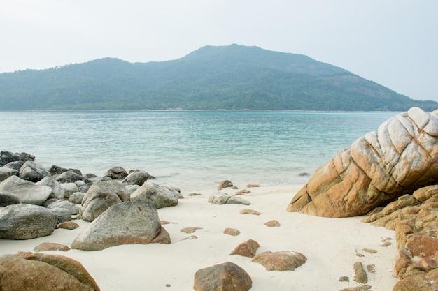 Denny tropikalny krajobraz z górami i skałami