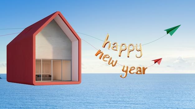 Denny widoku dom unosi się w niebie, szczęśliwy nowy rok - 3d rendering