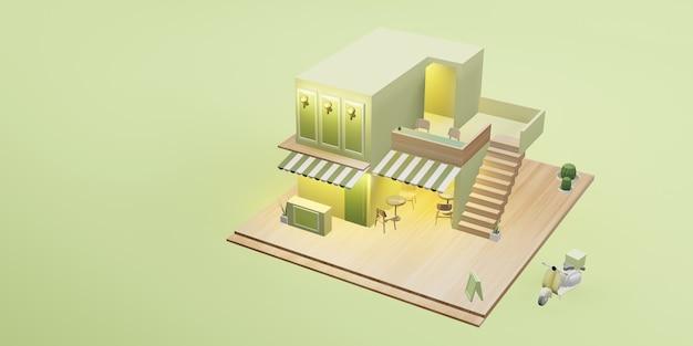 Deser sklep model kawiarnia restauracja usługa dostawy obraz kreskówki ilustracja 3d