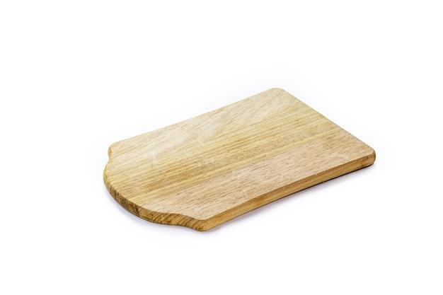 Deska do krojenia, ręcznie robiona drewniana deska kuchenna, vintage rustykalne naczynie kuchenne, izolowana biała powierzchnia
