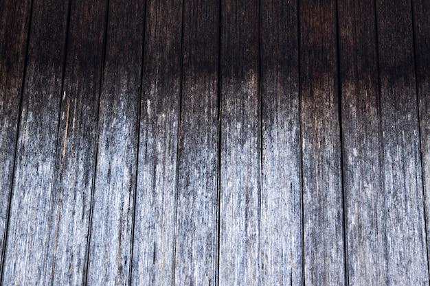 Deska w rustykalnym, szarym odcieniu, z pęknięciami i naturalnym rysunkiem drewna. naturalne tło