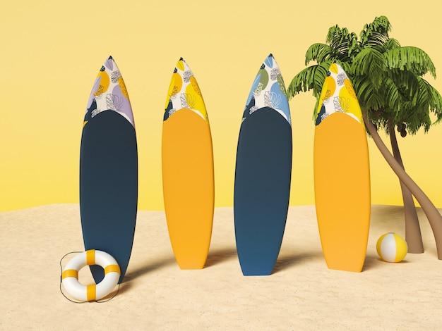 . deski surfingowe na piasku z palmami. koncepcja wakacji letnich.