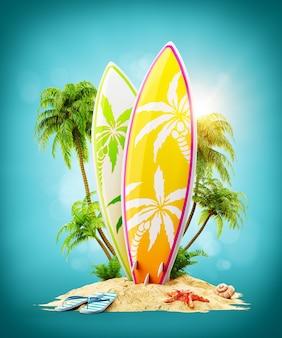 Deski surfingowe na rajskiej wyspie z palmami.