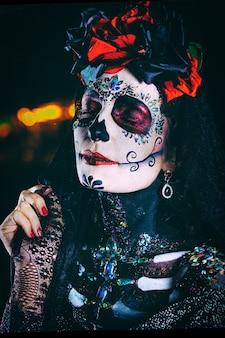 Dia de los muertos szczegół portret młodej kobiety
