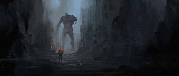 Dialog ocalałych w ruinach po wojnie, ilustracja 3d.