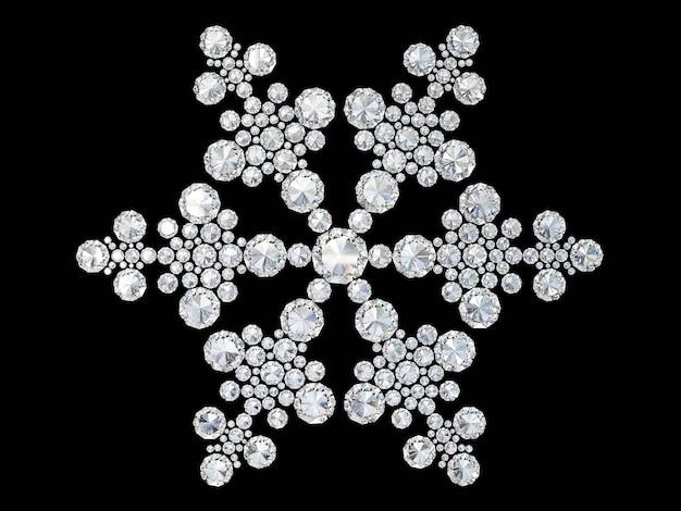 Diamenty biżuteria śnieżynka na czarnym tle