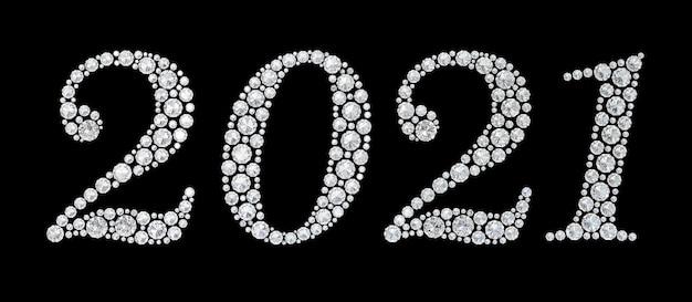 Diamenty cyfra 2021 na czarnym tle