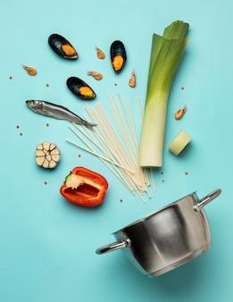 Dieta flexitarian i widok z góry garnka