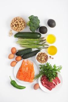 Dieta ketogeniczna, ketonowa, w tym warzywa, mięso i ryby, orzechy i olej na białym tle