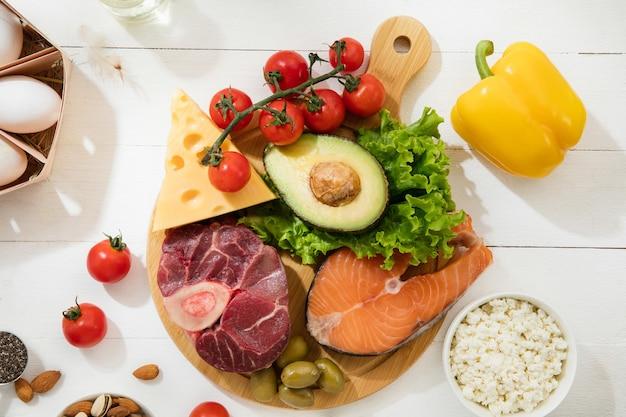 Dieta ketogeniczna niskowęglowodanowa - wybór jedzenia na białej ścianie