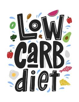 Dieta niskowęglowodanowa czarny napis na białym tle z kolorowym jedzeniem