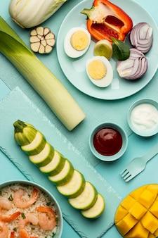Dieta warzyw i ryb powyżej widoku