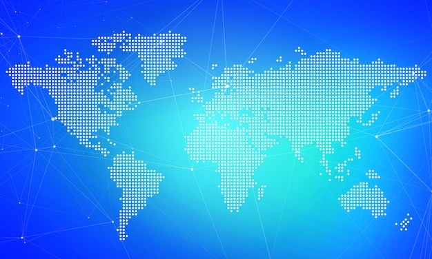 Digital business marketing background.world mapa kropki koncepcji