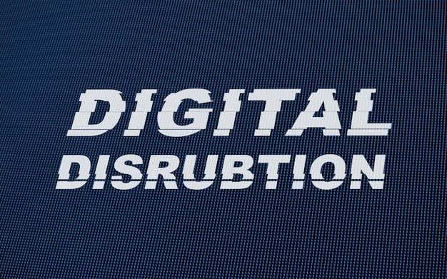Digital disrubtion text na led screen glitch.