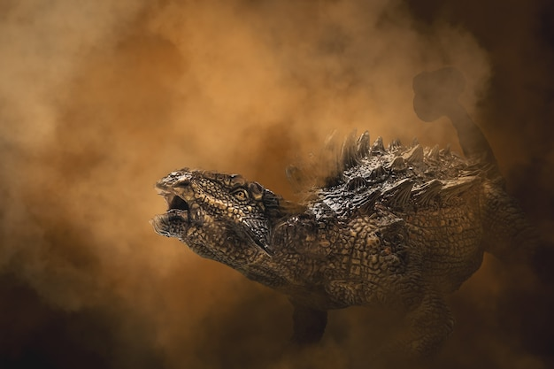 Dinozaur ankylosaurus na tle dymu