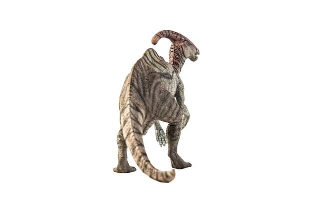Dinozaur parasaurolophus na białym tle.