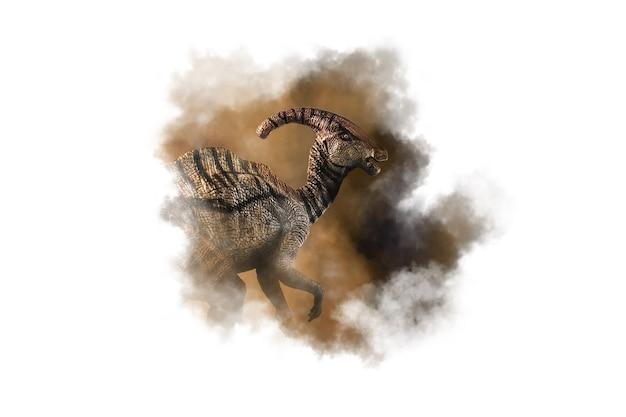 Dinozaur parasaurolophus na tle dymu