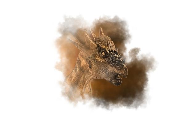 Dinozaur stygimoloch na tle dymu