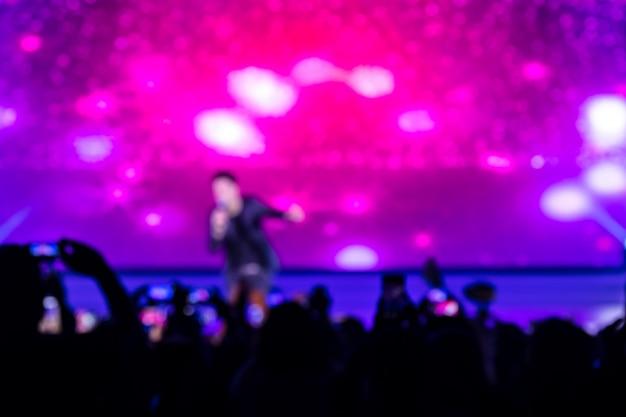 Disfocus of crowd przed sceną koncertową