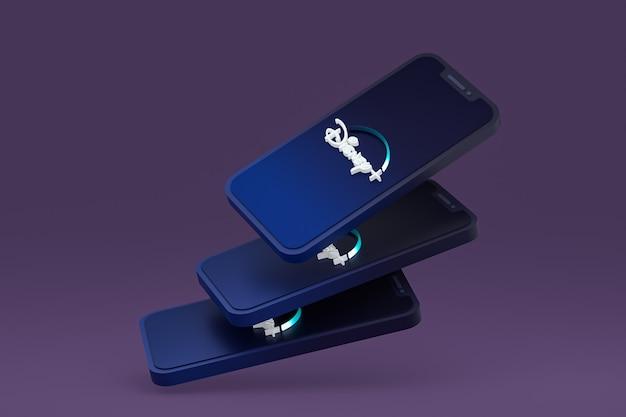 Disney plus ikona na ekranie smartfona lub telefonu komórkowego renderowania 3d
