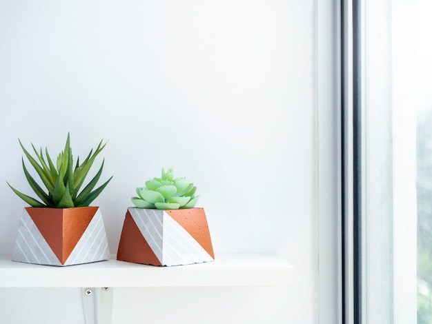 Diy betonowe doniczki, kształt piramidy z zielonymi soczystymi roślinami na białej drewnianej półce na białej ścianie w pobliżu szklanego okna z miejscem na kopię. dwie unikatowe donice cementowe pomalowane na kolor miedzi.