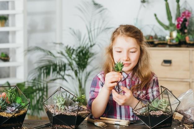 Diy florarium. hobby ogrodnictwa domowego. dziewczyna korzystających z sadzenia i uprawy sukulentów w domu.