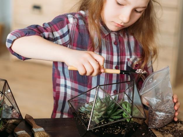 Diy florarium. zajęcia z ogrodnictwa domowego. dziewczyna za pomocą łopaty wsypać żwir do szklanego wazonu z sukulentami.