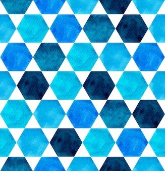 Dłoń akwarela malarstwo niebieski odcień kolorowe bezszwowe tło.