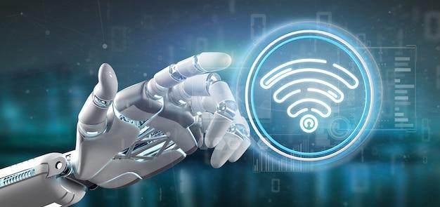 Dłoń cyborga trzymająca ikonę wifi ze statystykami i kodem binarnym
