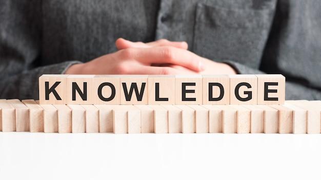 Dłoń kładzie drewnianą kostkę z literą wiedza