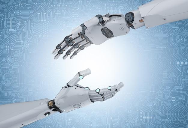 Dłoń robota renderującego 3d wyciąga rękę do innego