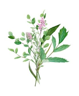 Dłoń rysunek akwarela las bukiet dzikich kwiatów, liści i gałęzi. ilustracja na białym tle. idealny na letnie zaproszenie ślubne i logo.