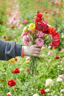 Dłoń trzymająca bukiet kwiatów z kwiatami w tle