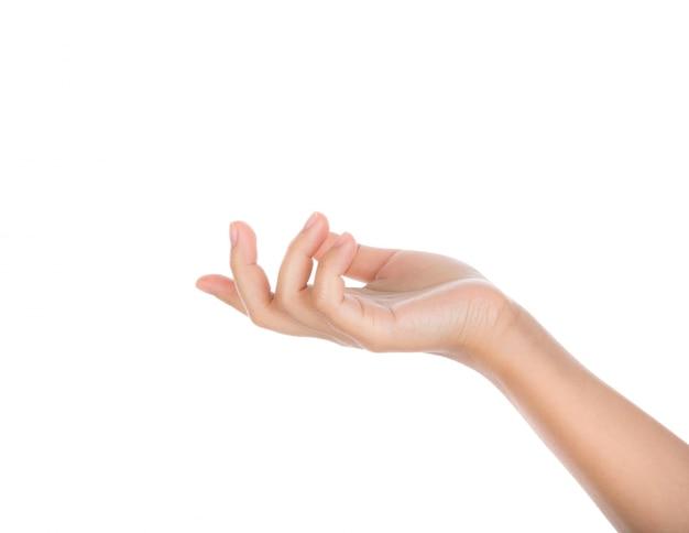 Dłoń trzymająca coś z białym tłem