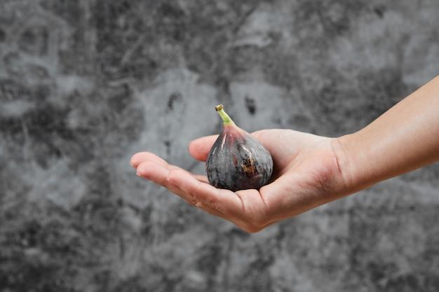 Dłoń trzymająca fioletową figę na marmurze.