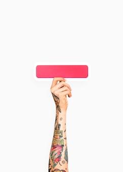 Dłoń trzymająca minus symbol