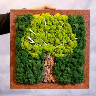 Dłoń trzymająca naturalny mech w kształcie drzewa na ścianie