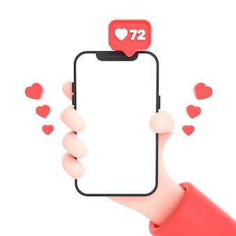 Dłoń trzymająca telefon z ikonami mediów społecznościowych i logo instagram i podobnym do makiety telefonu