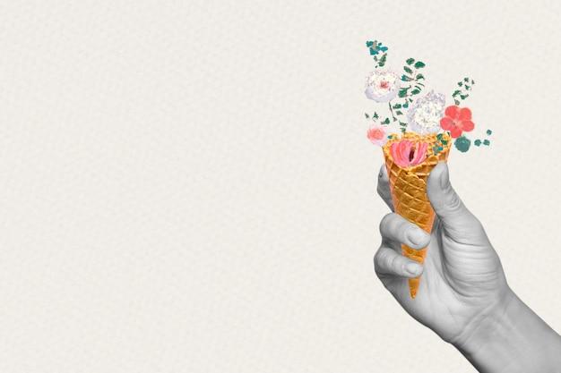 Dłoń trzymająca tło z kwiatowym stożkiem, zremiksowana z dzieł autorstwa pierre-josepha redouté