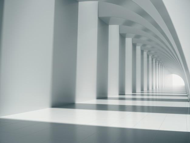 Długa biała przestrzeń korytarza.