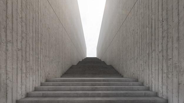 Długa droga schodowa prowadzi do światła. renderowanie 3d