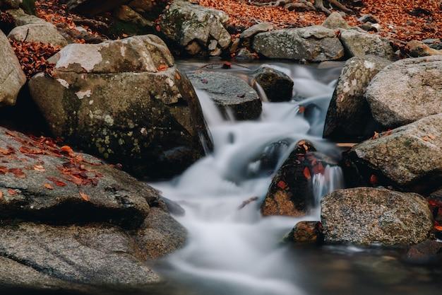 Długa ekspozycja wody przechodzącej między skałami w górach jesienią z kolorowymi liśćmi