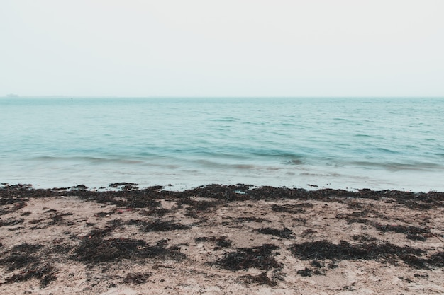 Długa ekspozycja zdjęcia morza na plaży sandsfoot, weymouth, wielka brytania w mglisty dzień